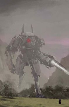 big ass robot with cannon to match Diesel Punk, Steampunk Robots, Alternate History, Science Fiction Art, Sci Fi Fantasy, War Machine, Sci Fi Art, Fantasy Characters, Concept Art