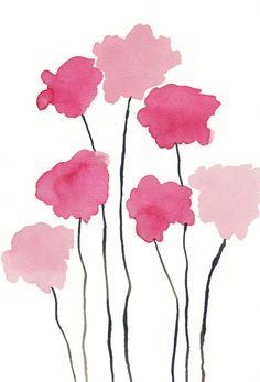 Soft Pink Watercolor Flowers Wall Art Print JPEG by DeliaSopcaArt