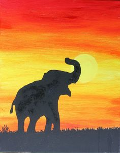 Word Weaver Art: Animals in Silhouette at Sunset (Kid Project) Small Canvas Paintings, Easy Canvas Art, Small Canvas Art, Mini Canvas Art, Acrylic Painting Canvas, Animal Paintings, Paintings Of Elephants, Elephant Canvas Painting, Acrylic Painting Animals