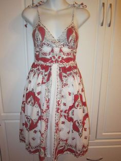 Stunning White Dress With Red Bohemian Tribal Print - Fully Lined Size Small #BluePlate #Sundress #Casual