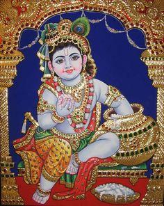 Tanjore Painting of Krishna @ https://www.madhurya.com/tanjore-paintings/krishna.html #krishnapainting #balkrishna