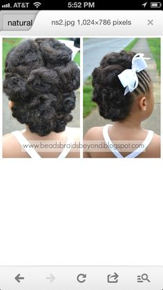 White and Gold Wedding. African American. Black Bride. Wedding Hair. Natural Hairstyles. Child natural hair-do for wedding