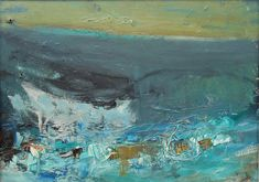From Cyril Gerber Fine Art/ Compass Gallery, Joan Eardley, Rough Sea, Oil on board, 8 × 11 in Abstract Landscape Painting, Landscape Paintings, Oil Paintings, Paintings Famous, Famous Artists, Landscapes, Simple Oil Painting, Oil Painting Flowers, Art Courses
