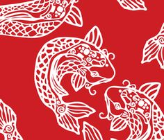Koi Love fabric by littlechickendesign on Spoonflower - custom fabric