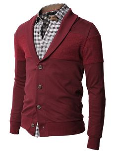 Good looking red mens shawl cardigan by H2H for $29.99