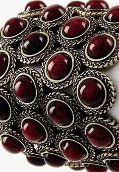 Deep wine-red cabachons set into interconnected silver circular settings. Looks like it is a bracelet, cuff, or perhaps a choker. No info at source. Shades Of Burgundy, Burgundy And Gold, Burgundy Wine, Burgundy Color, Magenta, Red Purple, Colors Of Fire, Marsala Wine, Grenade