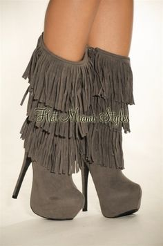 Wants Needs Gray Faux Suede Fringe High Heel Boots 6892 |2013 Fashion High Heels|