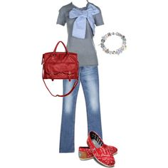 Like the nice big bow on the top, the red purse and jewelry but not really diggin the red shoes that look like Toms shoes.