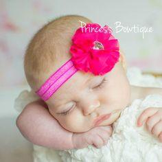 Baby Flower Headband Hot Pink