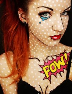 Comic book makeup. Perfect for a Nerd party my BF and I are attending soon.