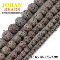 Gray Lava beads Natural Stone Volcanic rock Top quality Round Loose beads ball 4681012MM Supply Jewelry bracelet making DIY