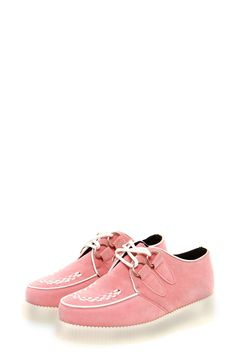 jade pastel pink suedette creeper shoes