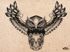 deviantART: More Like Owl - sugar skull Tattoo design for brest or chest by ~redtrujillo