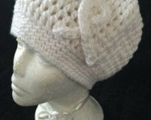 Inspired Lung Cancer White Hat / Cancer / Hat / Lung Cancer / Breast Cancer / Survivor / White Hat / Fight Like A woman / Team / Crochet Hat