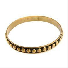 BAJALIA Pari Antiqued 14K Yellow Gold GP Brass bead Bangle Bracelet 100J #BAJALIA #Bangle