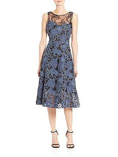 Teri Jon by Rickie Freeman Lace Sleeveless Tea Dress