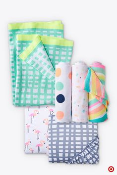 Just what your nursery needs—a basket of baby blankets in a variety of prints and patterns. These colorful and cuddly blankets by Oh Joy! will brighten the room and come in handy for wrapping, wiping and welcoming Baby. Add a bunch to your registry, because you just can't have too many.