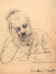 * Dessin original inédit et signé représentant Jules Verne par Gustav Wertheimer. Crayon gras signé représentant l'écrivain en buste, accoudé et l'air pensif. Format 32 x 42 cm (57 x 73,5 cm encadré).… - Boisgirard - Antonini - 12/10/2017