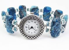 Beaded Bracelet Watch - Blue Crazy Lace Agate and Blue Faceted Crystal Glass Stretchy Bracelet Watch by mmojewelry on Etsy