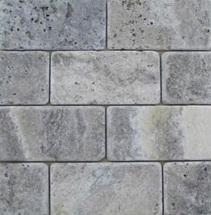 Kitchen Backsplash Ancient Tumbled Silver 2x4 Travertine