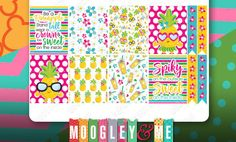 Pineapple Planner Sticker Weekly Sticker Kit, Erin Condren Life Planner Stickers, Happy Planner Stickers by MoogleyandMe on Etsy