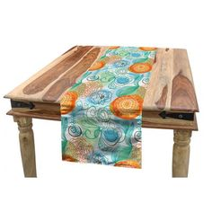 East Urban Home Ambesonne American Football Table Runner, Sketchy Style Safety Protection Vintage Pattern American Athletics, Dining Room Kitchen Rect Spring Tablecloths, Tablecloth Fabric, Round Tablecloth, Table Runner Size, Striped Table Runner, Table Runners, Wood Plank Flooring, Teak Table