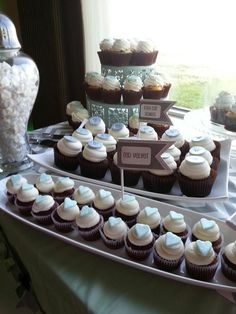 Mint to be dessert bar style wedding cupcakes