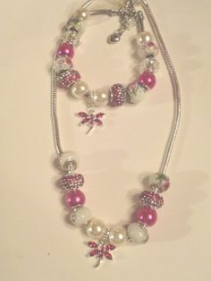 dragonfly pave' crystal hot pink european by Ginasayitwithcharm, $64.99