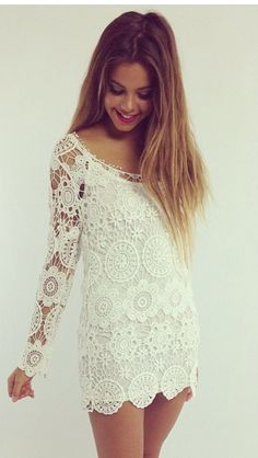Boho chic crochet lace tunic shirt or mini dress for a modern hippie style. For the BEST Bohemian fashion trends FOLLOW http://www.pinterest.com/happygolicky/the-best-boho-chic-fashion-bohemian-jewelry-gypsy-/