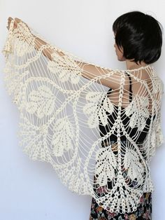 Shawl Pattern, Crocheted Leaf Shawl Pattern, Crochet Scarf PDF Tutorial, Womens Scarf Pattern