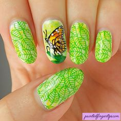 Painted Fingertips | Butterfly nails - the Digital Dozen does Rainforests