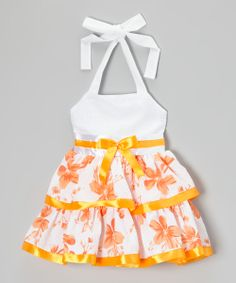 White & Orange Floral Halter Dress - Toddler & Girls