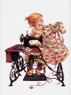 RARE LISI MARTIN girl sewing dresson mashine needlework unposted modern postcard | eBay