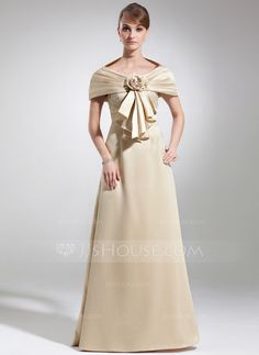 Empire Scoop Neck Floor-Length Satin Mother of the Bride Dress With Lace (008005934)