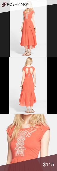 REDUCED NWT Free People Orange Dress Super cute NWT Free People. Casual-chic midi dress featuring a cap-sleeve bodice textured with geometric embroidery and a sweeping high/low skirt finished in a raw hemline. Partially lined. 100% cotton. Free People Dresses High Low