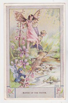 Rene Cloke postcard ELFINS OF THE BROOK 1954
