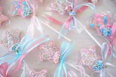 pastel pink fairy cookie wands.  For Piper's future birthdays