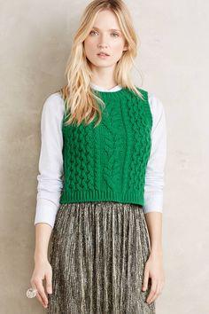 Fisherman Sweater Vest in Green [front] (Anthropologie)