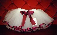 Sewn Ribbon Tutu Skirt  Ivory Wine Burgandy  Baby by frillerup, $36.00