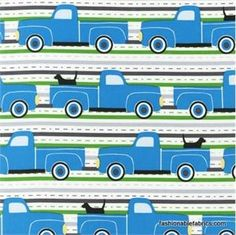 truck and dog fabric perfect for baby boy