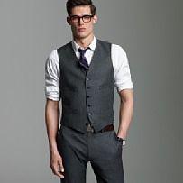 Thinking ... Thin black tie and grey dress shirt underneath.