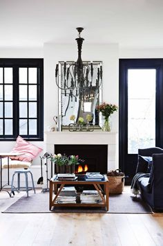 living-room-chandelier-fireplace-coffee-table-july14