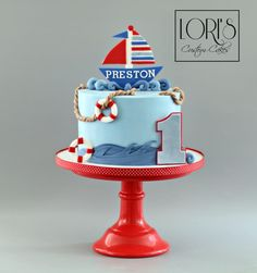by Lori Mahoney (Lori's Custom Cakes) Nautical Birthday Cakes, Sailor Birthday, Baby First Birthday Cake, Elegant Birthday Cakes, Nautical Cake, Baby Birthday Cakes, Sailor Cake, Little Boy Cakes, Cake Designs For Boy