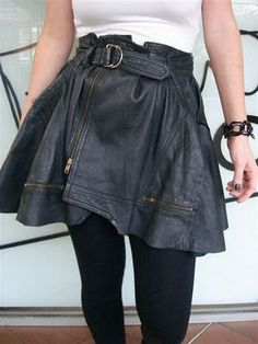 recycled (dated) leather jackets...into a skirt