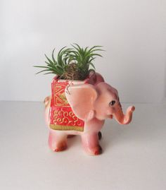 Vintage Circus Pink Elephant Planter