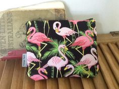 Pink Flamingo Flamingoes Cotton Pouch Purse with by VintageTopsy