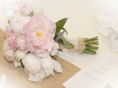 Pastel blush pink rustic bridesmaid bouquet