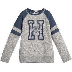 Tommy Hilfiger Boys Grey & Teal Blue Sweatshirt at Childrensalon.com