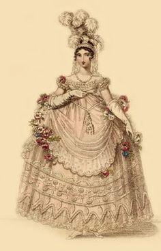 """La Belle Assemblée, April 1817 """"Court Dress with the New Hoop"""""""