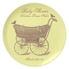 Vintage Baby Shower Dinner Plate